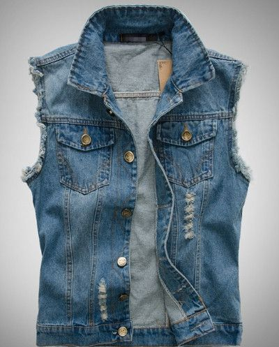 Best Value Men Casual Street Style Denim Jean Vest. Buy this Men Denim Vest direct and get $10 off! Men's Denim Vest Fabric: Denim Fit: Slim Fit Color Available: Blue Size: S, M, L, S Chest : 37.44 in
