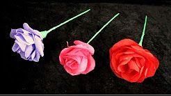 diy easy paper roses valentine - YouTube