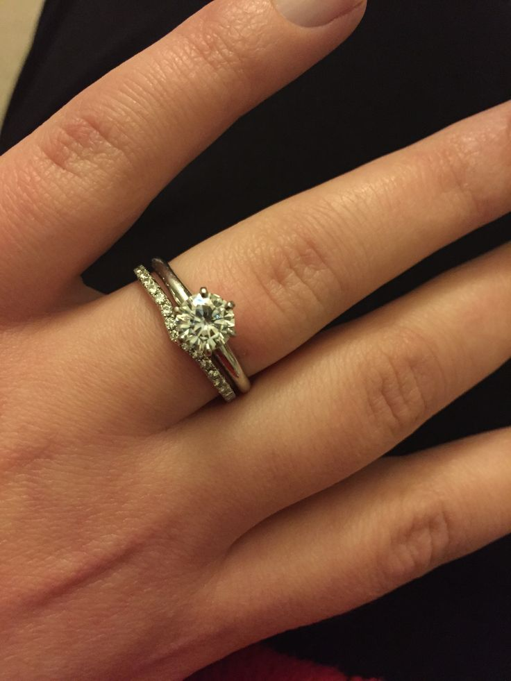 Six Claw Solitaire With A Shaped Diamond Set Wedding Ring