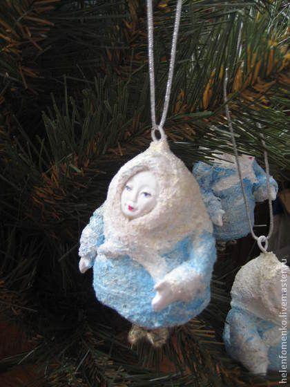"""Ёлочная игрушка """"Девочка-снегурочка"""" - голубой,елочные игрушки,елочные украшения"""
