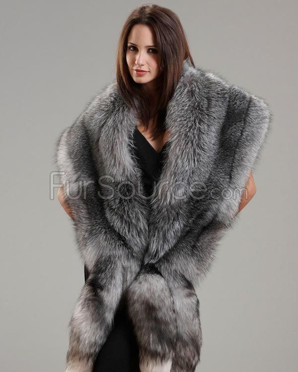 Fox fur three tier stole with tails - Polsterstoffe fur stuhle ...