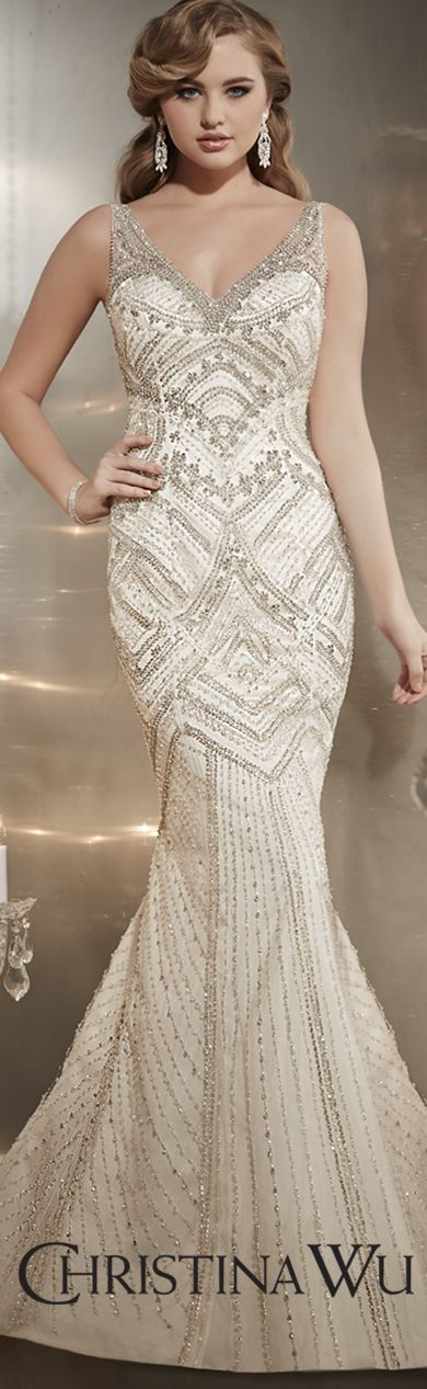 A striking balance of romance and flare. The sublime beauty of couture is captured in this Christina Wu gown with lavish hand-beading and a silhouette that makes a statement. Christina Wu Style 15562. #wedding