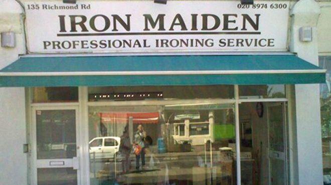 """A loja """"Iron Maiden"""" que não vende discos da banda de heavy metal. Ah, o humor britânico nosso de cada dia..."""