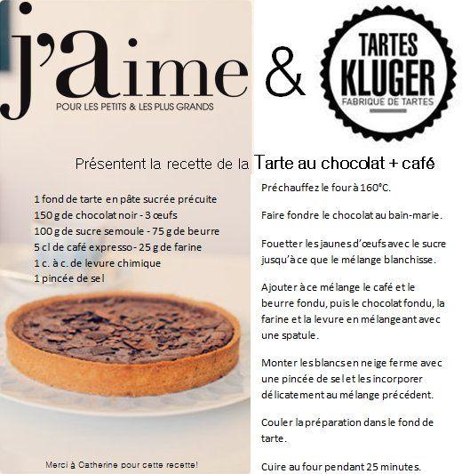 RECETTE TARTE AU CHOCOLAT BY TARTES KLUGER et J'AIME