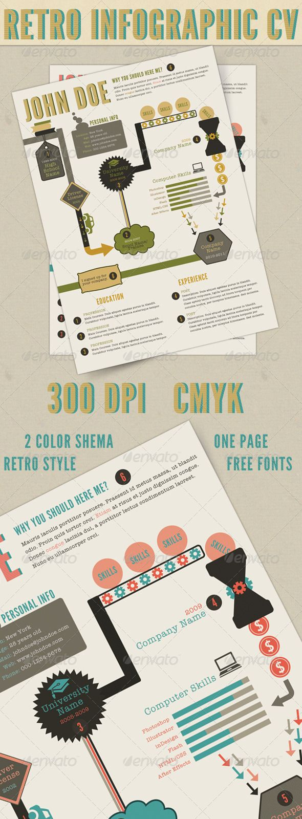 beautiful creative and cheap vintage retro infographic resume