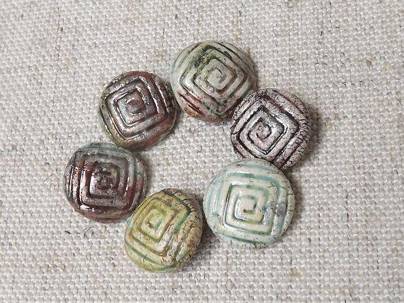 6 Ceramic buttons round button raku by BlueBirdyDesign on Etsy, €12.00