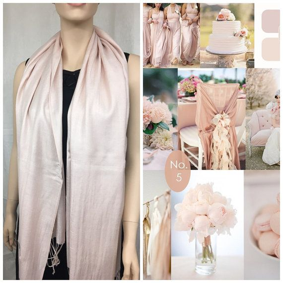 Blush champagne/pink pashmina scarf shawl / by CaSales on Etsy