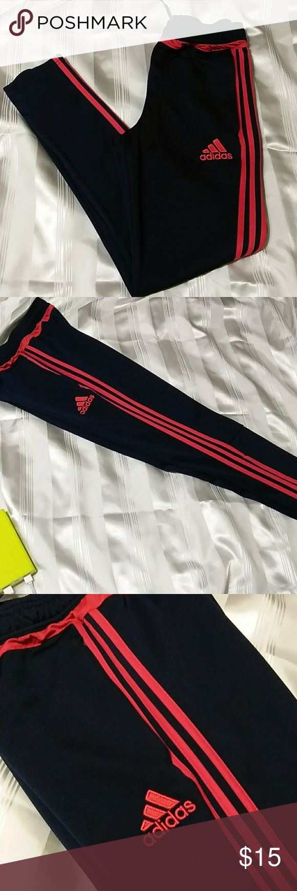 Adidas Clima cool sweatpants  J-31 Midnight Blue color clima cool adidas pants with 3 red stripes. Elastic waistline with adjustable string to make fitting  adjustment. Skinny type but there's a zipper to make the hem wider. See the last picture. Great condition no stains  or rips.  Measurements laying flat  Waistline :13 inches Length:38 inches Adidas Bottoms Sweatpants & Joggers