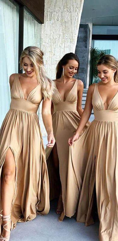 c12725803eb4a Gold satin v neck bridesmaid dresses with slit. #weddingdresses  #bridesmaiddress#eveningdresses #
