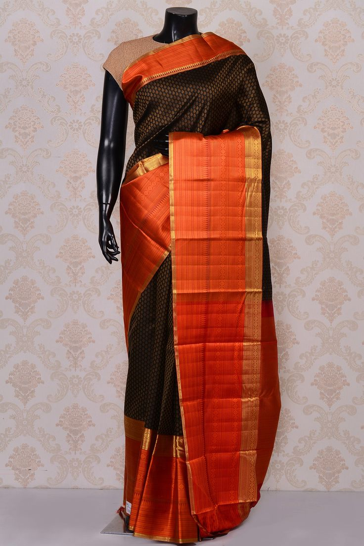 #Black grand #kanchipuram silk #saree with orange border-SR18651 -#PURE KANCHIPURAM SILK SAREE #Sarees