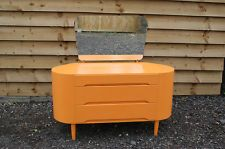 Retro curved groovy orange dressing table with mirror funky upcycled