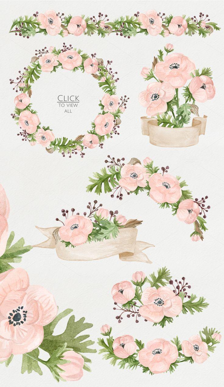 Watercolor anemones. Floral set 2 by NataliVA on Creative Market http://bareskylls.com/