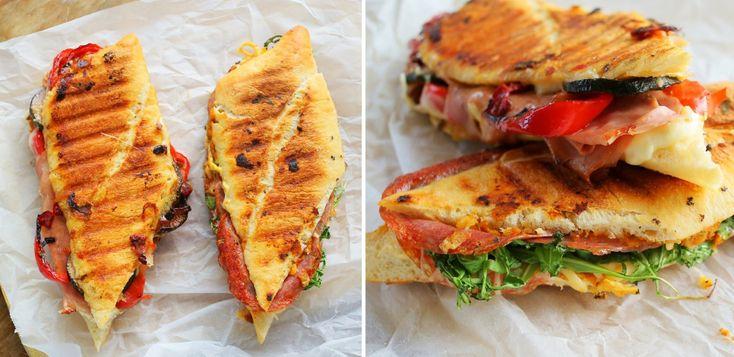 Pesto rossos és grillezett zöldséges paninik