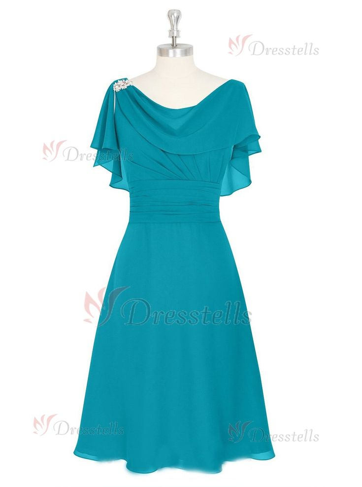 A-Line Knee-length Scoop Turquoise Mother of the Bride Dresses With Short Sleeves