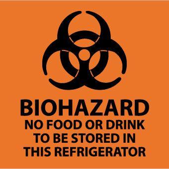 BIOHAZARD NO FOOD OR DRINK . . .(GRAPHIC), 4X4, STICKER, 5-PACK