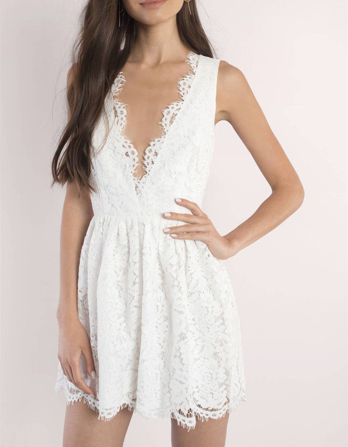 Cute White Lace Homecoming Dress 07d748688