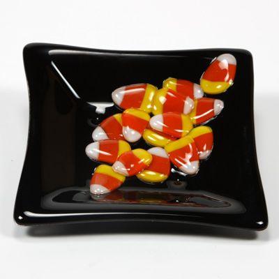 Candy corn dish glass