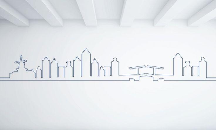 Skyline Amsterdam | Spijkerafbeeldingen, muurafbeeldingen, string-art, spijkerpatronen | spijkerpatroon (string art)