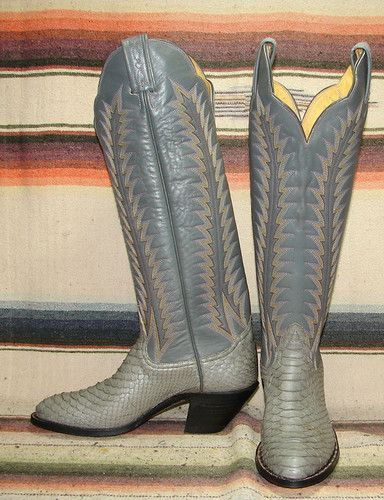 Tony Lama Black Label Gray Snakeskin Cowboy Boots.  I bought these boots in a second hand store in Austin, Texas.