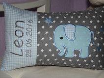 ♥ Kissen ★ Elefant ★ mit Namen bestickt + Inlett ♥