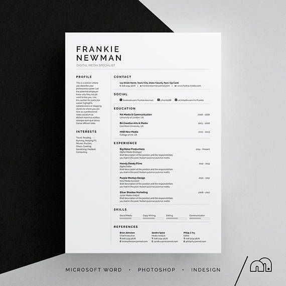 CV Template | Minimal | VFrankie Resume/CV Template | Word | Photoshop | InDesign | Professional Resume Design | Cover Letter | Instant Download