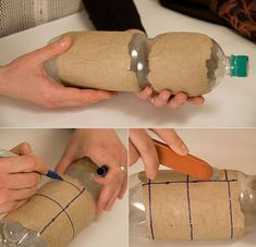 Necesitaremos: -una botella de plastico -papel de embalar -cola blanca y pincel -retazos de tela -aguja e hilo utilizamos una botella de plastico para hacer el molde, pegamos varias capas de papel de embalar con cola ...