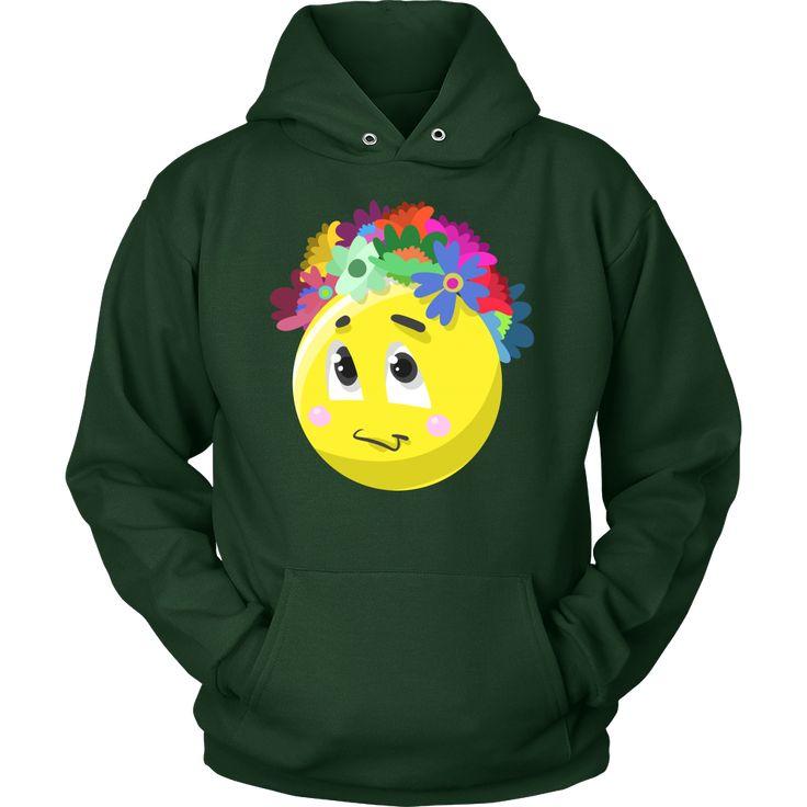 Emoji Flower Cute Face Emojis Flowery Crown Hoodie