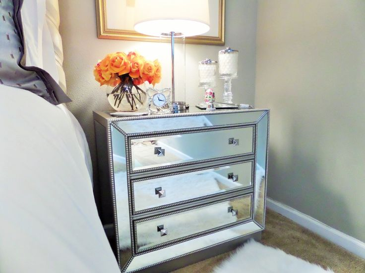 if you have a tiny bedroom you can enlarge the space by finding a mirrored bedside table an adaptable piece like this can be modern glam boho