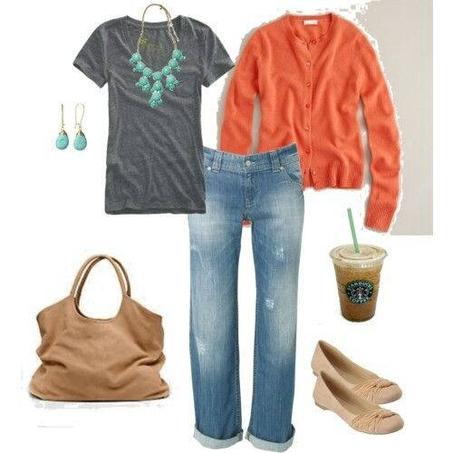 Coral Grey Beige Turquoise Outfit (khakis instead of jeans for work)