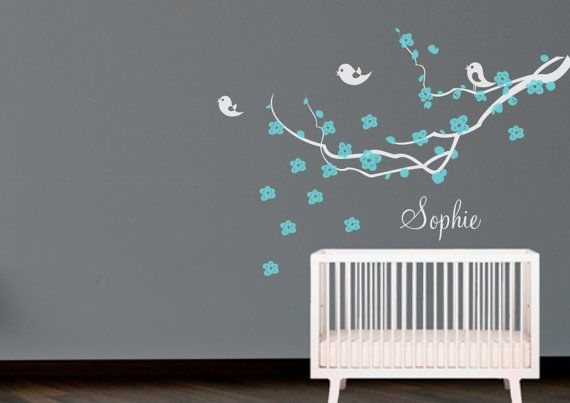 Branch with flowers,birds and name Wall Decal. Wall Sticker. Nursery decal