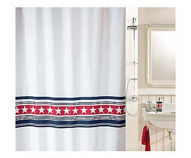 Tenda da doccia in poliestere Wainscott navy e rosso, 180x200 cm