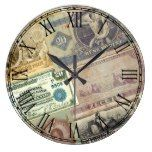 Vintage Rustic Travel Money Print Large Clock  #Clock #Large #Money #Print #Rustic #RusticClock #Travel #Vintage The Rustic Clock