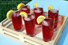 Raspberry Dazzle Cooler (non-alcoholic)  Ingredients: (Serves 6)            2 cups raspberry seltzer          2 cups Cran-Raspberry Juice          2/3 cups frozen raspberries          Ice cubes          Lemons wedges for garnish
