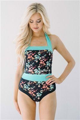 ab99ab7b8c44d Black Teal Floral One Piece Modest Swimsuit, modest swimwear, cute one  piece swimsuit, one piece swimsuit, modest tankini, tankini, vacation  swimwear, ...