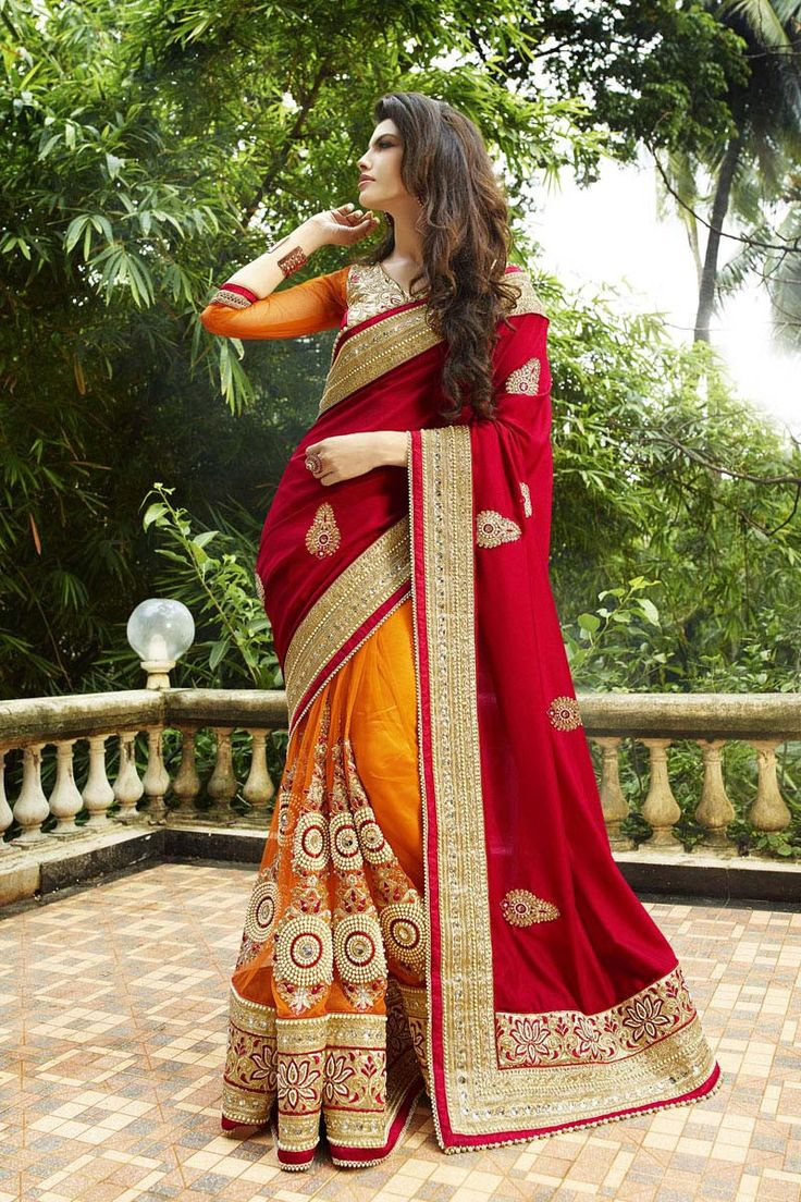 Red Net Bridal Saree