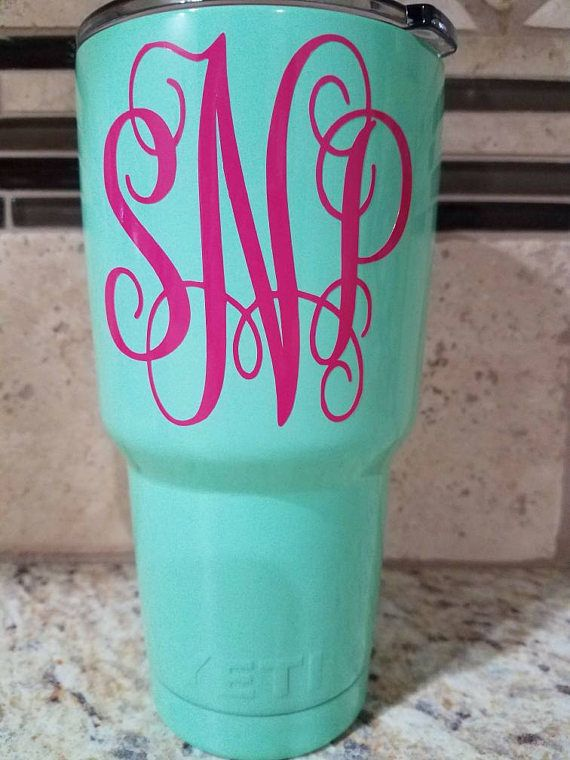 Beautiful powder-coated seafoam/teal/mint green YETI tumbler 30 oz.  **Yeti Rambler is not dishwasher safe, therefore I also advise not putting your colored YETI in the dishwasher**    Please select monogram from option # 1 (Vine letter) or option # 2 (Circle letter), also select color and in notes to seller at checkout list name or initials. Monogram traditional is: First, Last, Middle name.