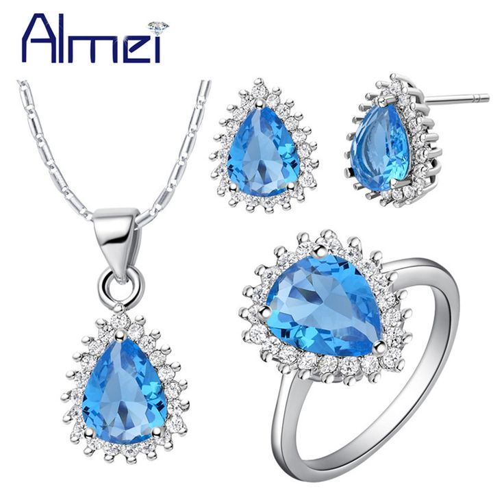 Almei Silver New Jewelry Sets Fashion Blue Crystal Earrings&Rings Necklaces for Women Wedding Bridals Bijoux Jewellery Set T530