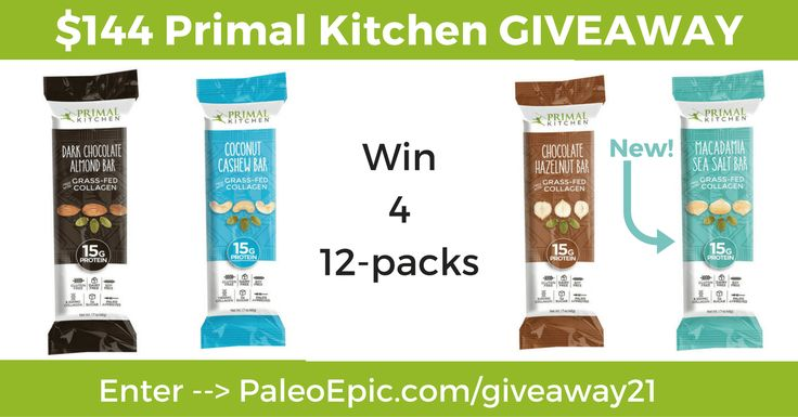 Do You Want To Win 4 12 Packs Of Primal Kitchen Collagen Protein Bars Enter At The Following Link Paleo Collagen Protein Bars Primal Kitchen Protein Bars