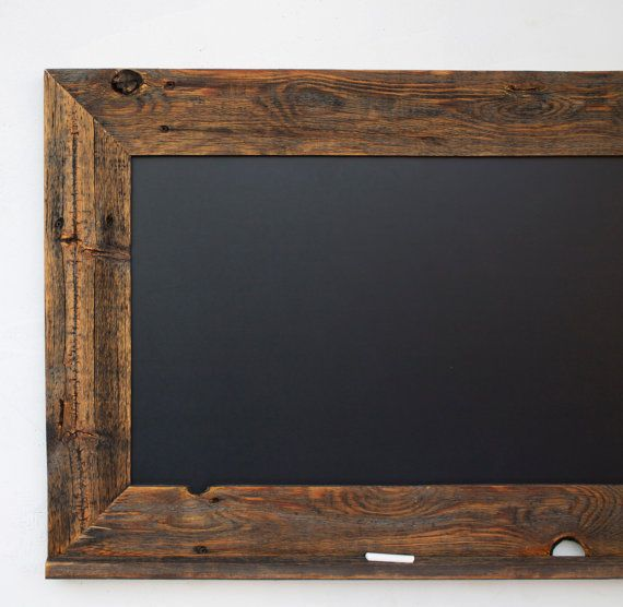 Chalkboard - Valentine's Day Gift - Reclaimed Wood Framed with Ledge - 28x20 Kitchen Chalkboard - Rustic Modern Decor on Etsy, $60.00