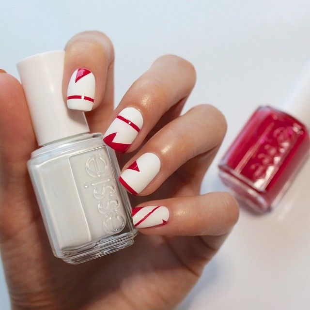 Showing Canada some #essielove today with a geometric design mani featuring 'she's pampered' & 'blanc'!