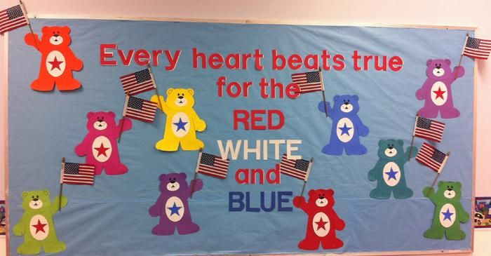 """Every Heart Beats True..."" - Patriotic Bears Bulletin Board Idea"