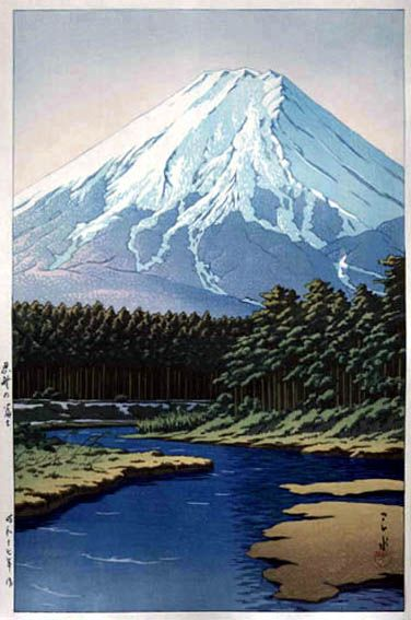 Mount Fuji from Shinobuno  by Kawase Hasui, 1942  (published by Watanabe Shozaburo)