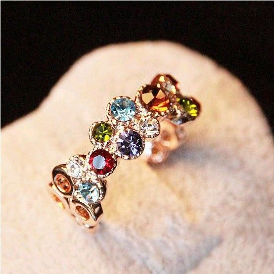 olorful Imitate Rhinestone Ring Exquisite Simplicity Rings For Women 7.5 size