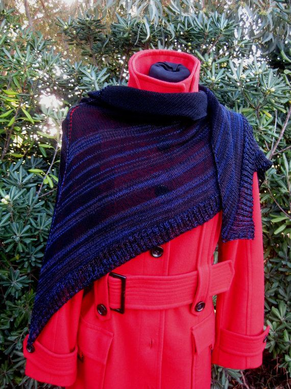 Handmade Striped Shawl Woman Scarf Wool Cotton di AtelierBusas
