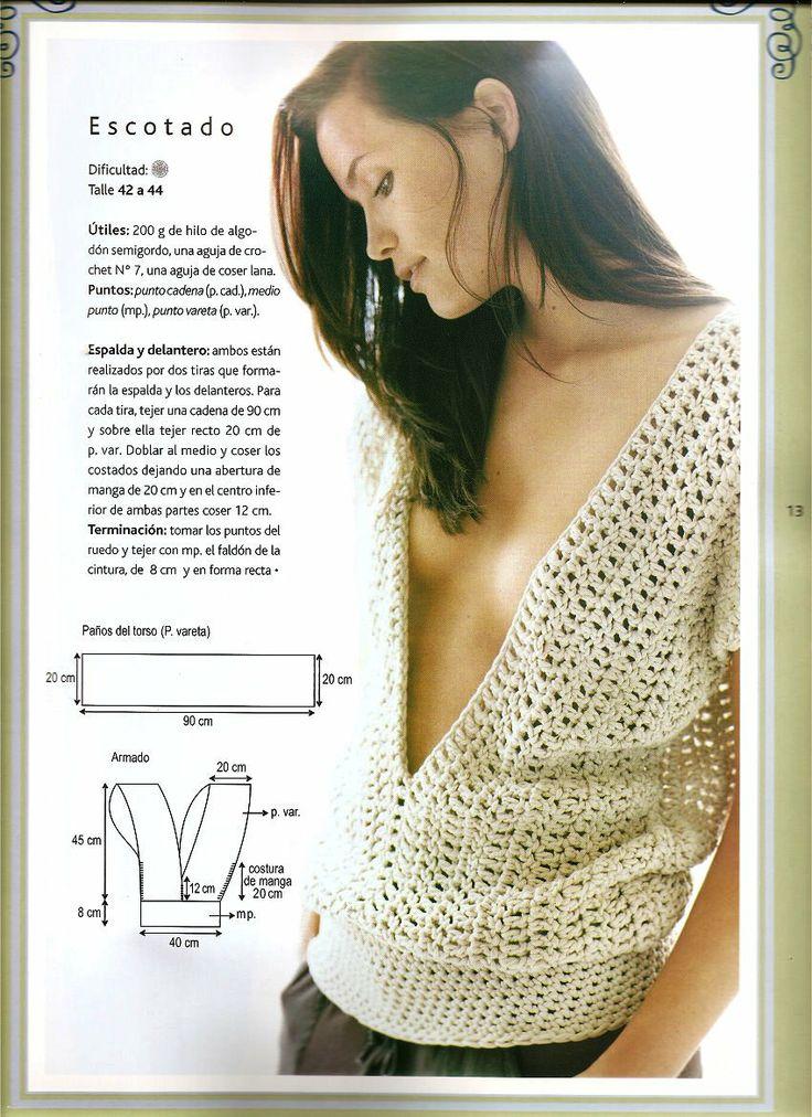 El recetario de Lanezi: blusa escotada en crochet