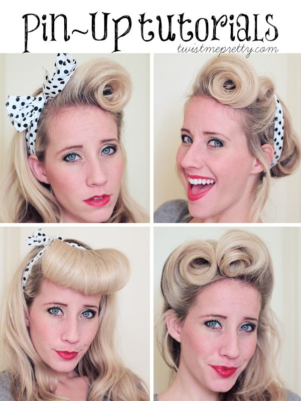 Victory Rolls: A Pin-Up Hair Tutorial http://thepinuppodcast.com shares this images to support pin up and rockabilly artists, models and photographers.