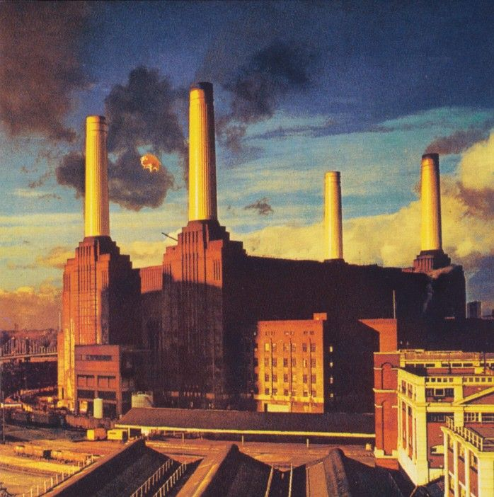 Animals: This is also in my Hipgnosis roundup. It's Animals, Pink Floyd's Orwellian dystopian take on modern society. It's not just the flying pig I love - it's that gorgeously bleak Battersea Power Station.That's what a dark Satanic mill looks like.