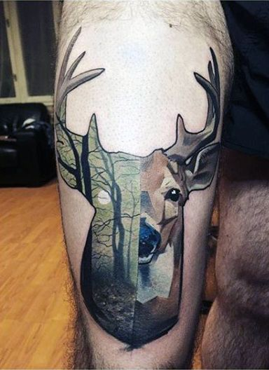 Thigh Green Deer Tracks Tattoo For Males