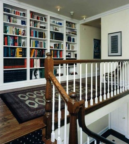 Great use for stair landing built in bookshelves design - Home designer stairs with landing ...