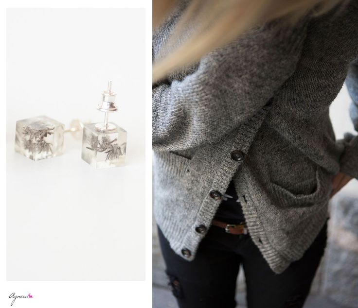 Soft cardigan and  small grey stud earrings for Wednesday #wednesday #style #fashion #grey #studs #post #earrings #sweater #cardigan #soft #warm #winter #december